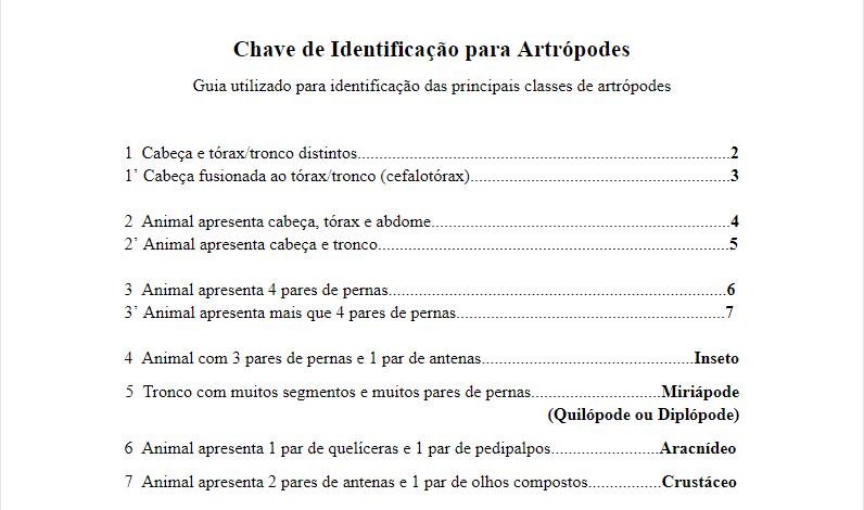 Chave de Identificação para Artrópodes